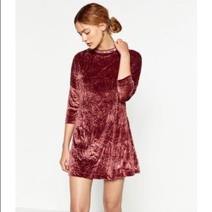 Zara | Crushed Velvet Pink Dress Medium